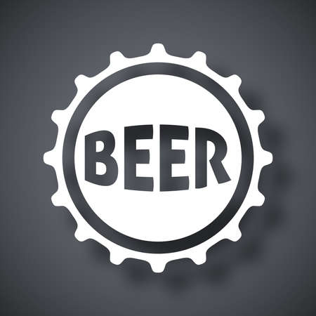 glasses of beer: Vector beer bottle cap icon