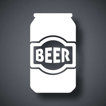 dark beer: Vector beer can icon