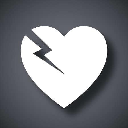 heart attack: Vector break heart icon Illustration
