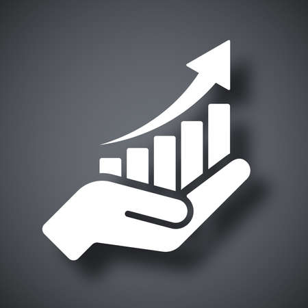 Vector growing graph icon on the hand