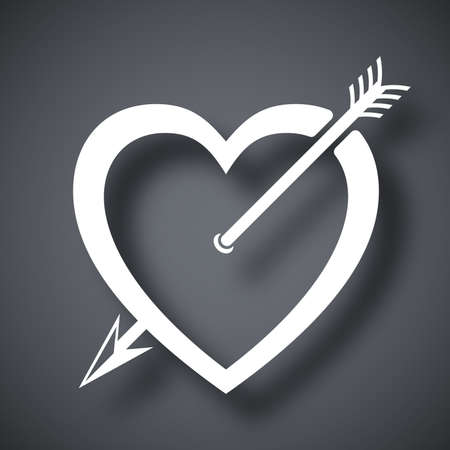 Vector heart icon with arrow