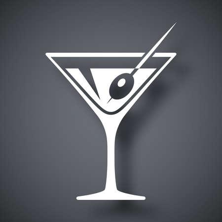 copa martini: Vector icono de copa de martini