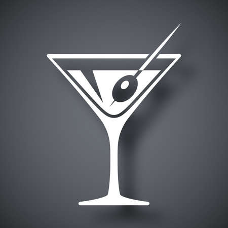 glass modern: Vector martini glass icon