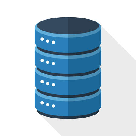 database: Data storage icon with long shadow on white background
