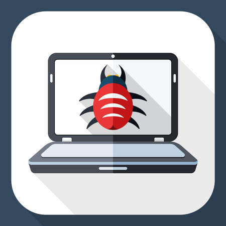 adware: Laptop icon infected by malware with long shadow