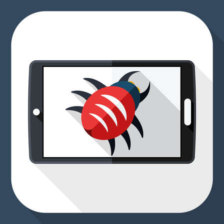 infected: Tablet icon infected by malware with long shadow