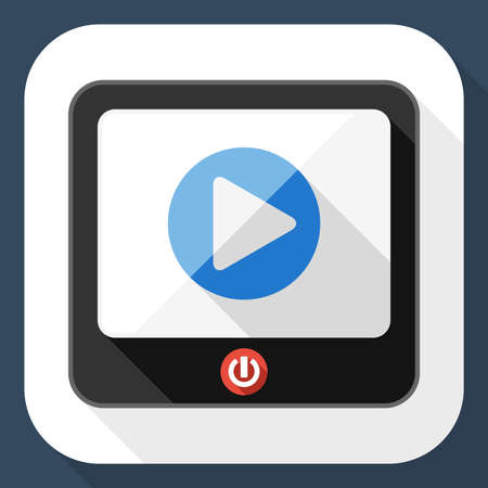 telecast: TV flat icon with play button and long shadow