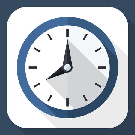 timekeeper: Wall clock icon with long shadow