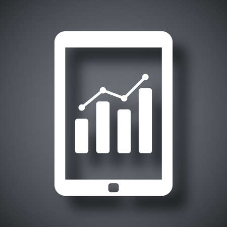 multitouch: Vector tablet with business chart icon