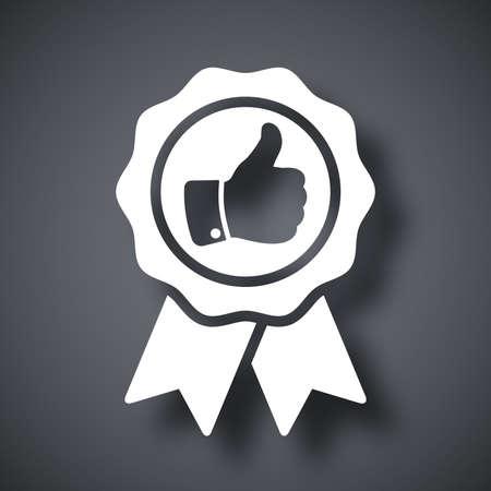 Vector badge met duim omhoog icoon