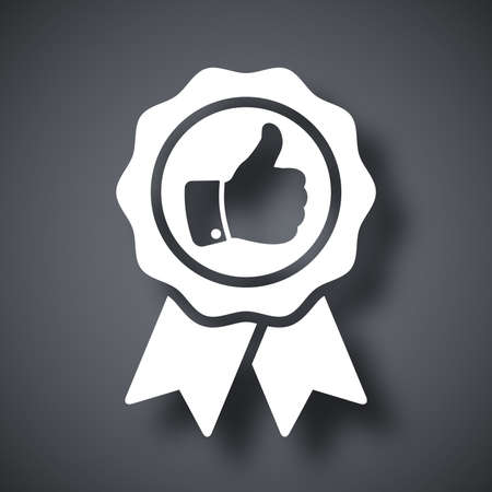 quality seal: Vector badge with thumbs up icon