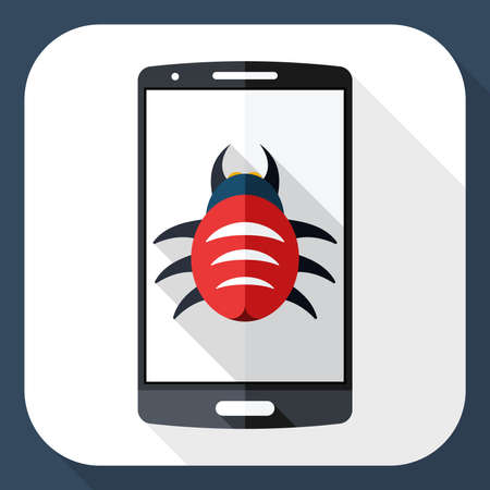 malware: Smart phone icon infected by malware with long shadow