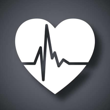 rhythm: Vector heart cardiogram icon
