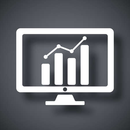 monitor screen: Vector monitor with business graph on the screen icon Illustration