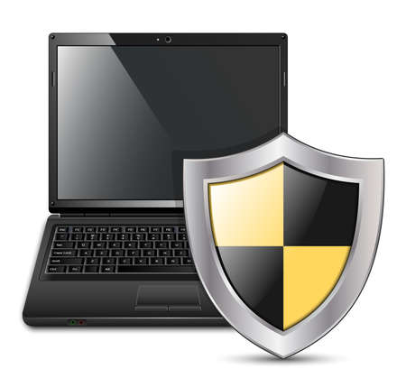 shared sharing: Vector illustration of laptop with protective shield Illustration