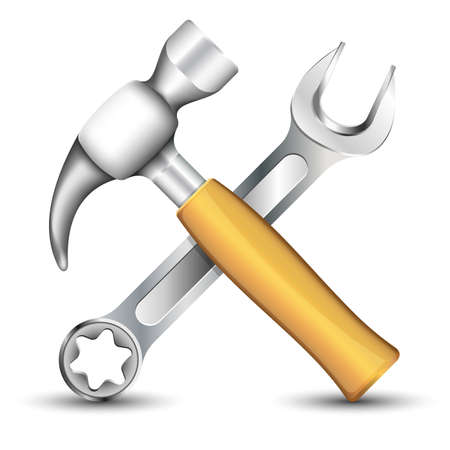 tooling: Wrench and Hummer Icon. Vector illustration