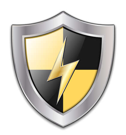 www arm: Vector Protection Icon - Glossy Black and Yellow Shield with Lightning Illustration