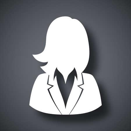 Vector gebruiker icoon van de vrouw in pak Stock Illustratie