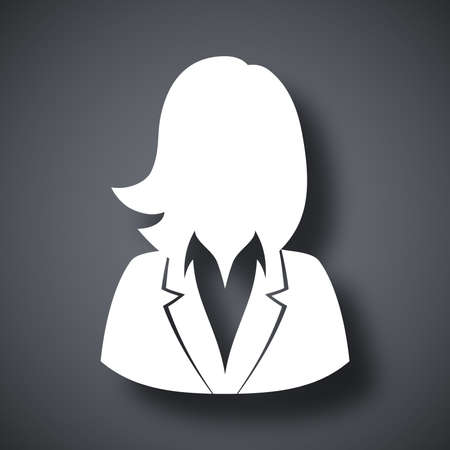 mujer trabajadora: Vector icono de usuario de la mujer en traje de negocios