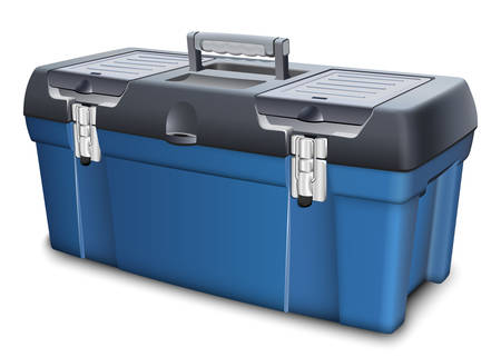 Tool box on white background. Realistic vector illustration