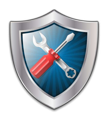 maintenance worker: Vector service icon - shield with screwdriver and wrench