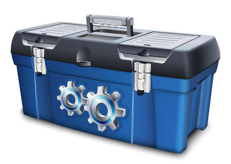 tool box: Tool box with gears label. Vector illustration