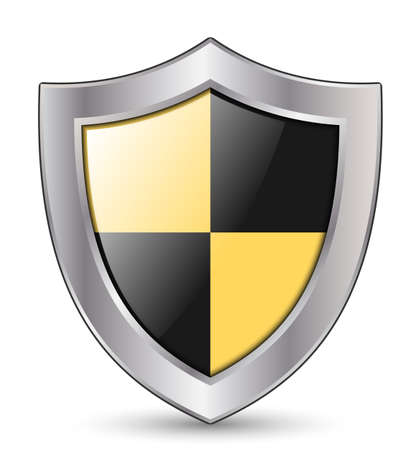 www arm: Vector Protection Icon - Glossy Black and Yellow Shield Illustration