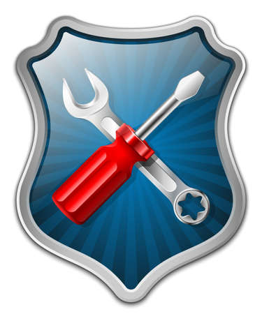 www arm: Vector service icon - shield with screwdriver and wrench