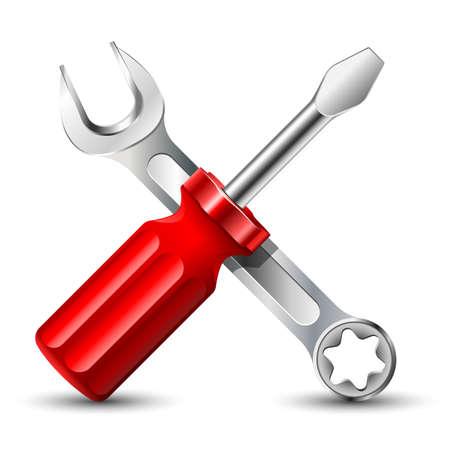 Schroevendraaier en moersleutel. Vector illustratie