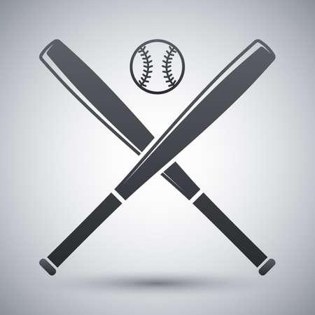 Vector baseball bats and ball icon Illustration