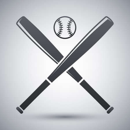 Vector baseball bats and ball icon Çizim