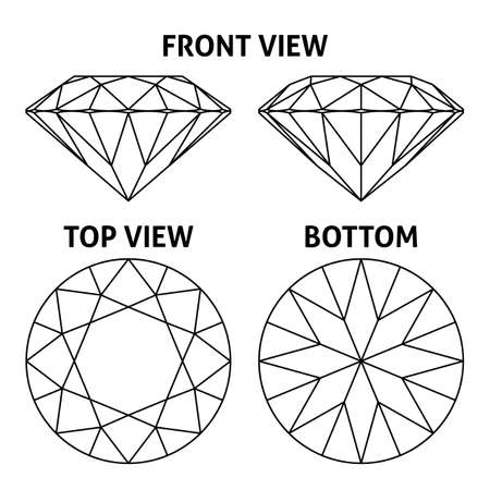 dibujos lineales: Cuatro lados del diamante, ilustración vectorial