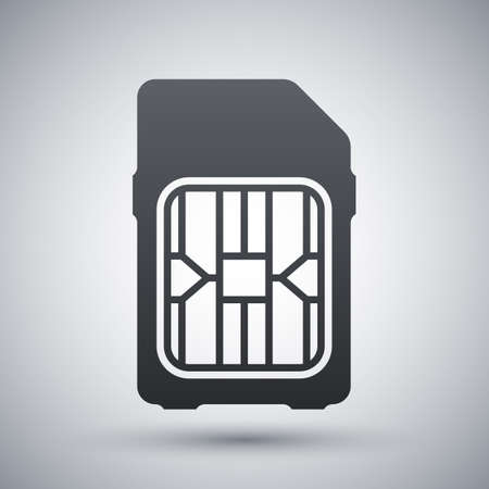 gsm phone: SIM card icon, vector