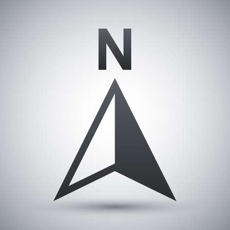 brujula: Vector icono de brújula en dirección norte Vectores