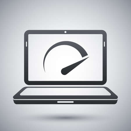 speed test: Vector speed test laptop icon