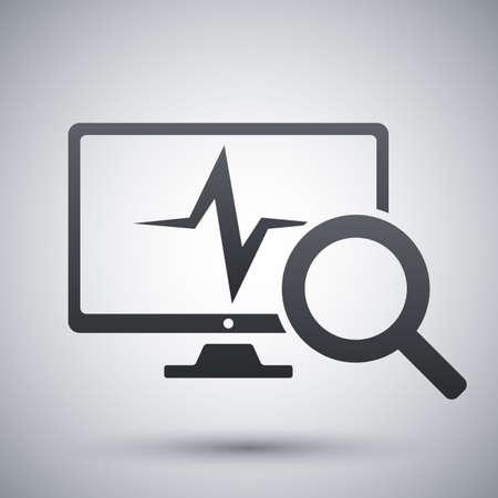 Computer diagnostics icon, vector