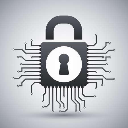 circuitos electronicos: Concepto de la seguridad del icono