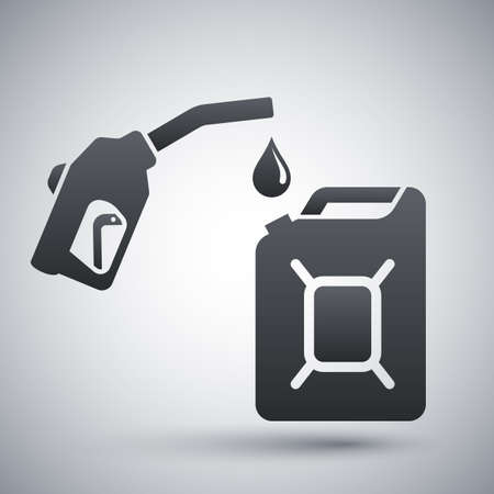 fuel pump: Gun for fuel pump and canister of fuel, icon