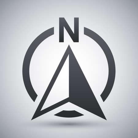 North direction compass icon, vector Illustration