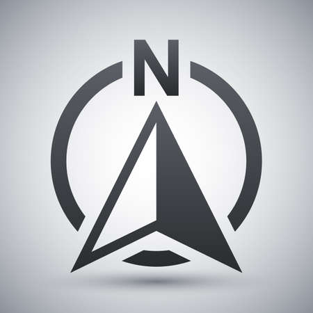 North direction compass icon, vector Illustration