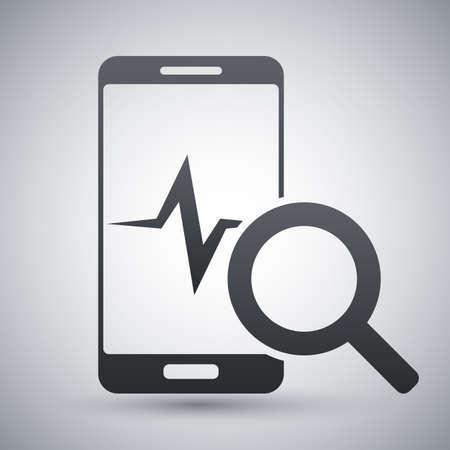 diagnostics: Smartphone diagnostics icon, vector