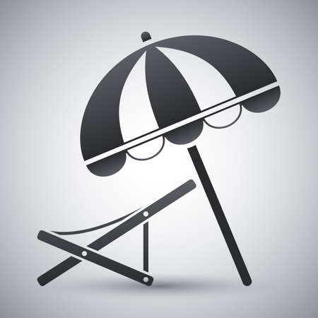 deck chair: Vector beach umbrella and deck chair icon Illustration