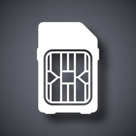 simcard: SIM card icon, vector