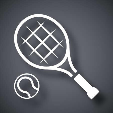Tennis racket and tennis ball, vector icon