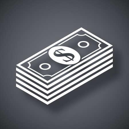 funding: Vector bundle of dollars icon