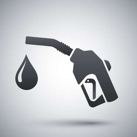 gas pump: Icon of gun for fuel pump with a drop of fuel, stock vector