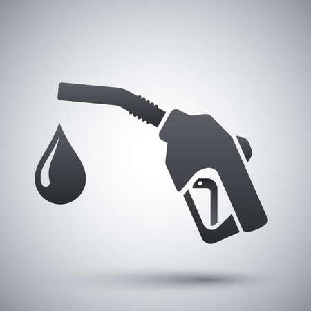 fuel pump: Icon of gun for fuel pump with a drop of fuel, stock vector