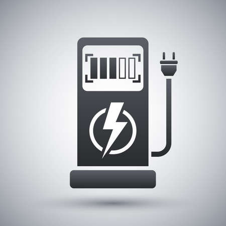 zero emission: Vector electric car charging station icon