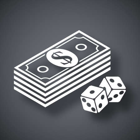 backgammon: Vector bundle of dollars and dices icon Illustration