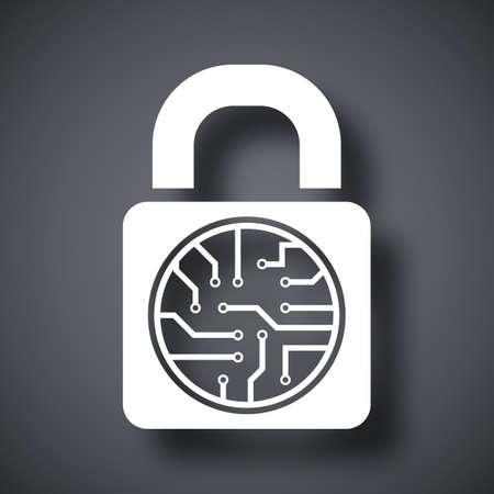 gpu: electronic lock icon Illustration